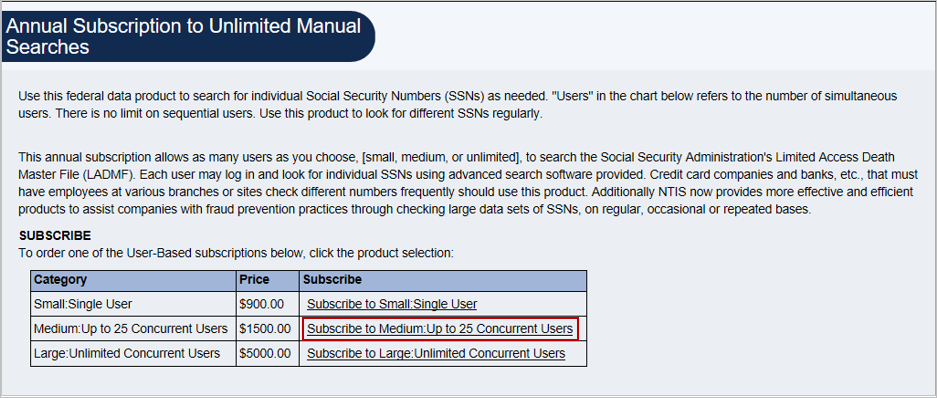 Screenshot of Annual Subscription to Unlimited Manual Searches product detail page.
