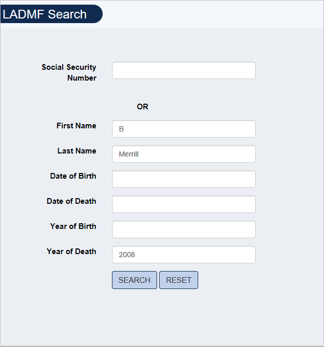 Screenshot of LADMF Search form filled out with example search for B. Merrill