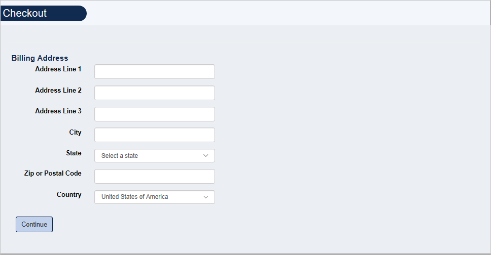 Screenshot of Billing Address Form presented during Checkout process.