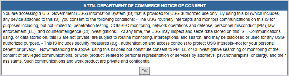Department of Commerce Notice of Concent Pop Up