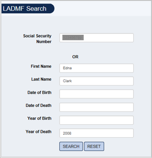 Screenshot of LADMF Search form filled out with example search for Edna Clark.
