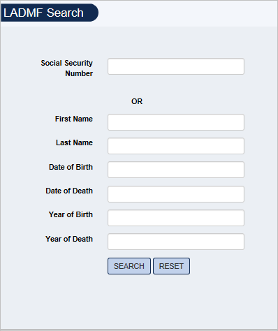 Screenshot of LADMF Search form.